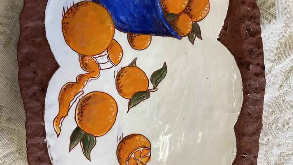 Large Serving Platter, Carved Oranges