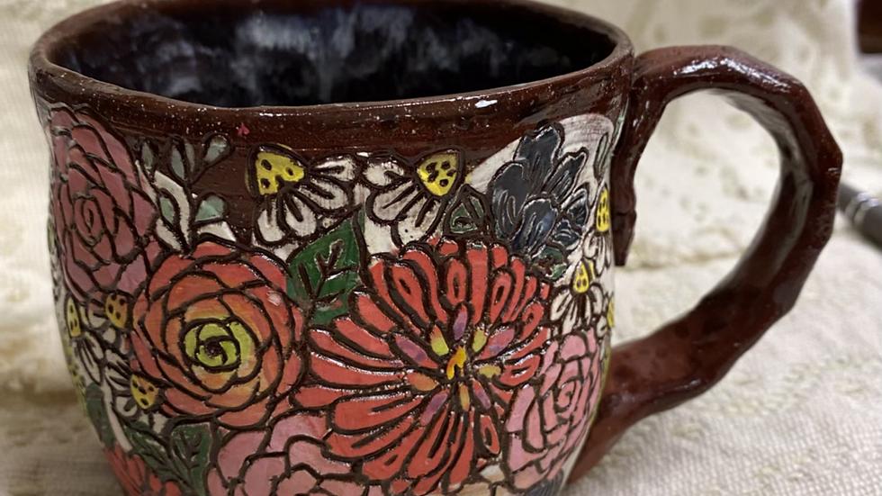 Mug Carved Flowers