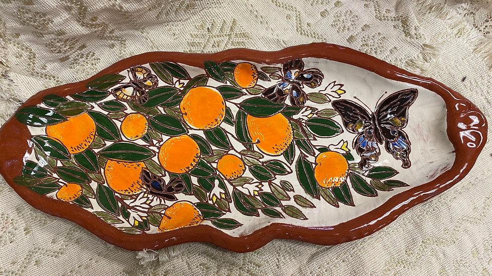 Platter with Oranges & Butterflies