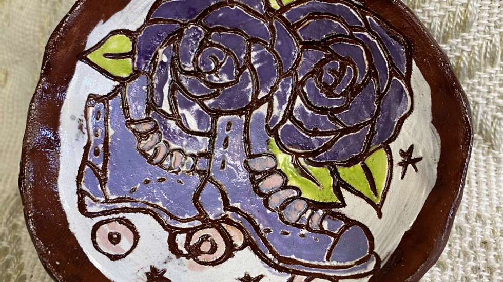 Ring Dish, Purple Flowers & Skates