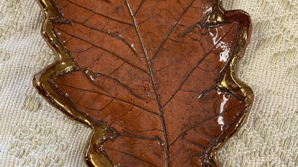 Tray, Oak Leaf w/Gold Luster Trim