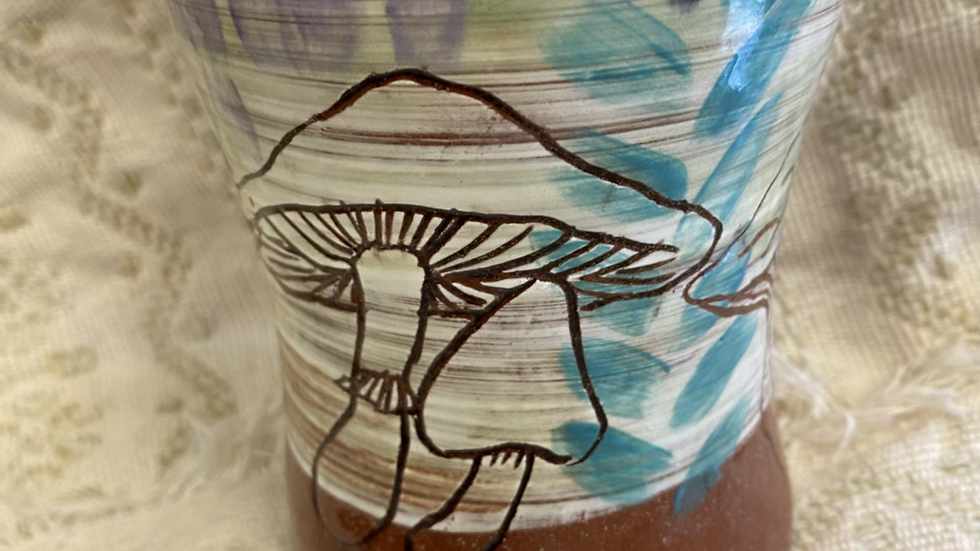 Tumbler with Mushroom Abstract