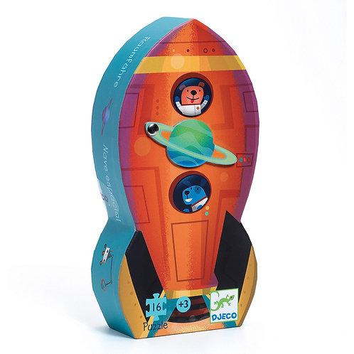 Djeco Μίνι Παζλ 16 τεμ. 'Διαστημόπλοιο'