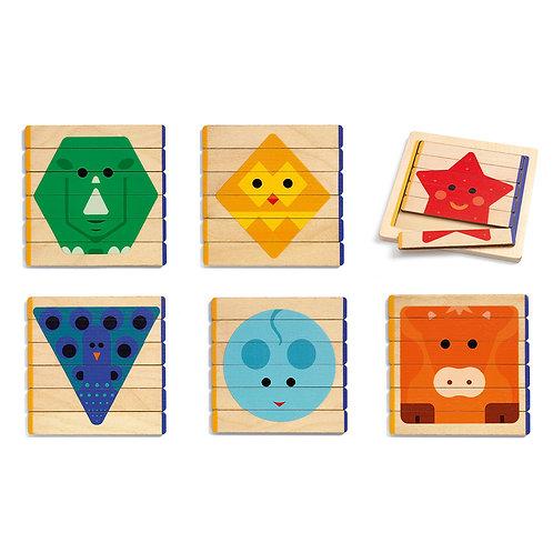 Djeco 6 ξύλινα παζλ σε πλαίσιο 'Ζωάκια - Γεωμετρικά σχήματα'