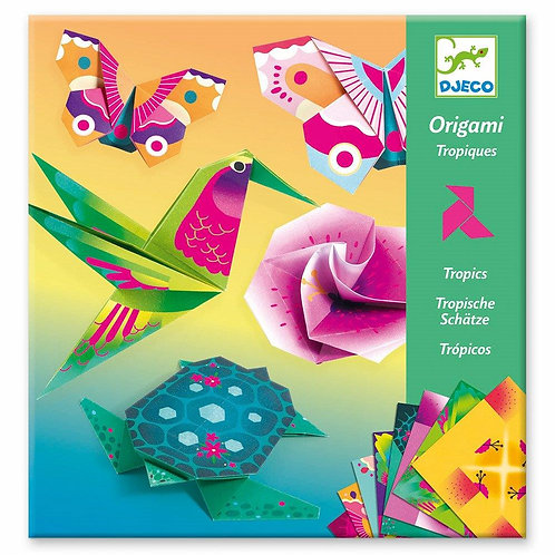 Djeco Οριγκάμι κατασκευή νέον χρώματα 'Τροπικά ζωάκια και λουλούδια'
