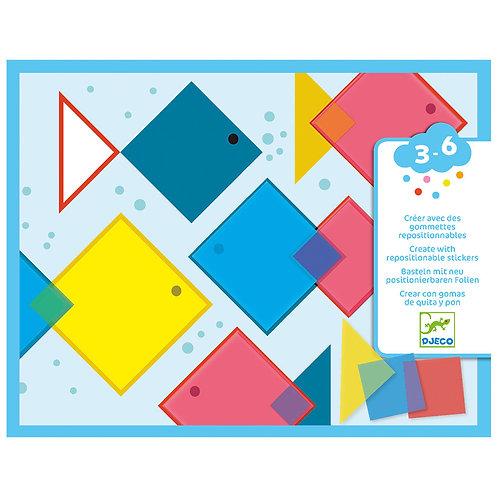 Djeco κολάζ με αυτοκόλλητα επαναχρησιμοποιούμενα τετράγωνα 'Χρώματα'