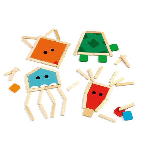 Djeco δημιουργώ με ξυλάκια 'Ζωάκια' 16 κάρτες