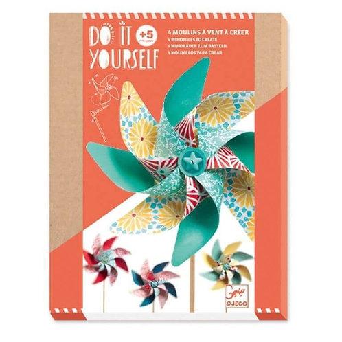 Djeco DIY Φτιάχνω - Ανεμόμυλο 'Μοτίβα λουλουδιών' 4 τεμ.