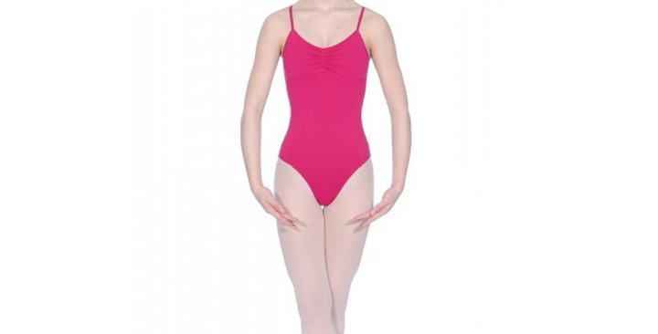 Lycra camisole leotard with pleated front & princess seams