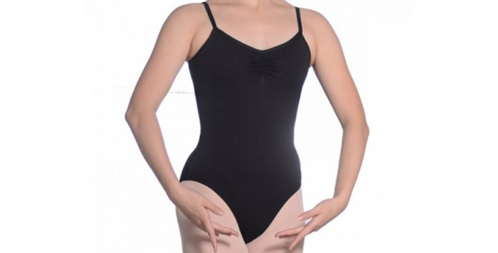 Leotard with camisole top and adjustable ruched front.