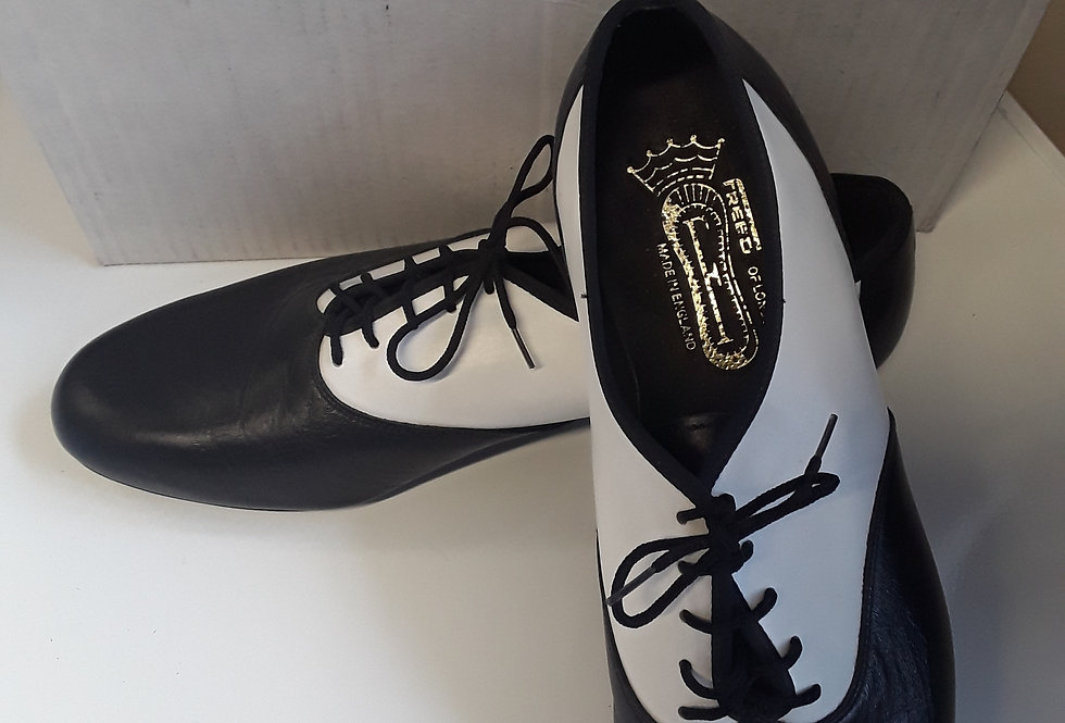 Freed black and white leather swing shoes