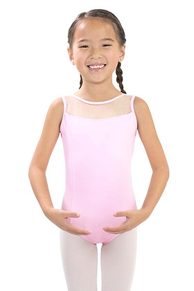Girls' Microfiber High Neck Mesh Yoke Leotard with V-Mesh Back