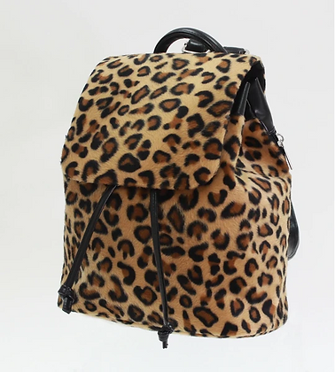 Tiny Leopard Faux Fur Backpack
