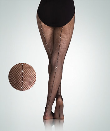 Body Wrappers A64 TotalSTRETCH®Backseam Fishnet Tights