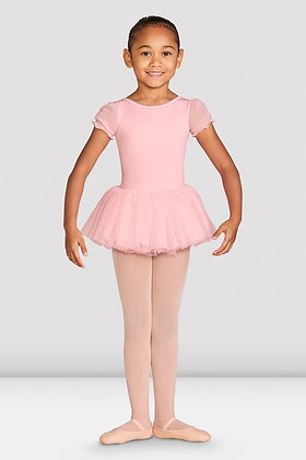 Girls Amelia Frill Cross Back Tutu Leotard Pink