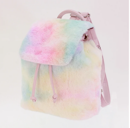 Tiny Cotton Candy Faux Fur Back Pack