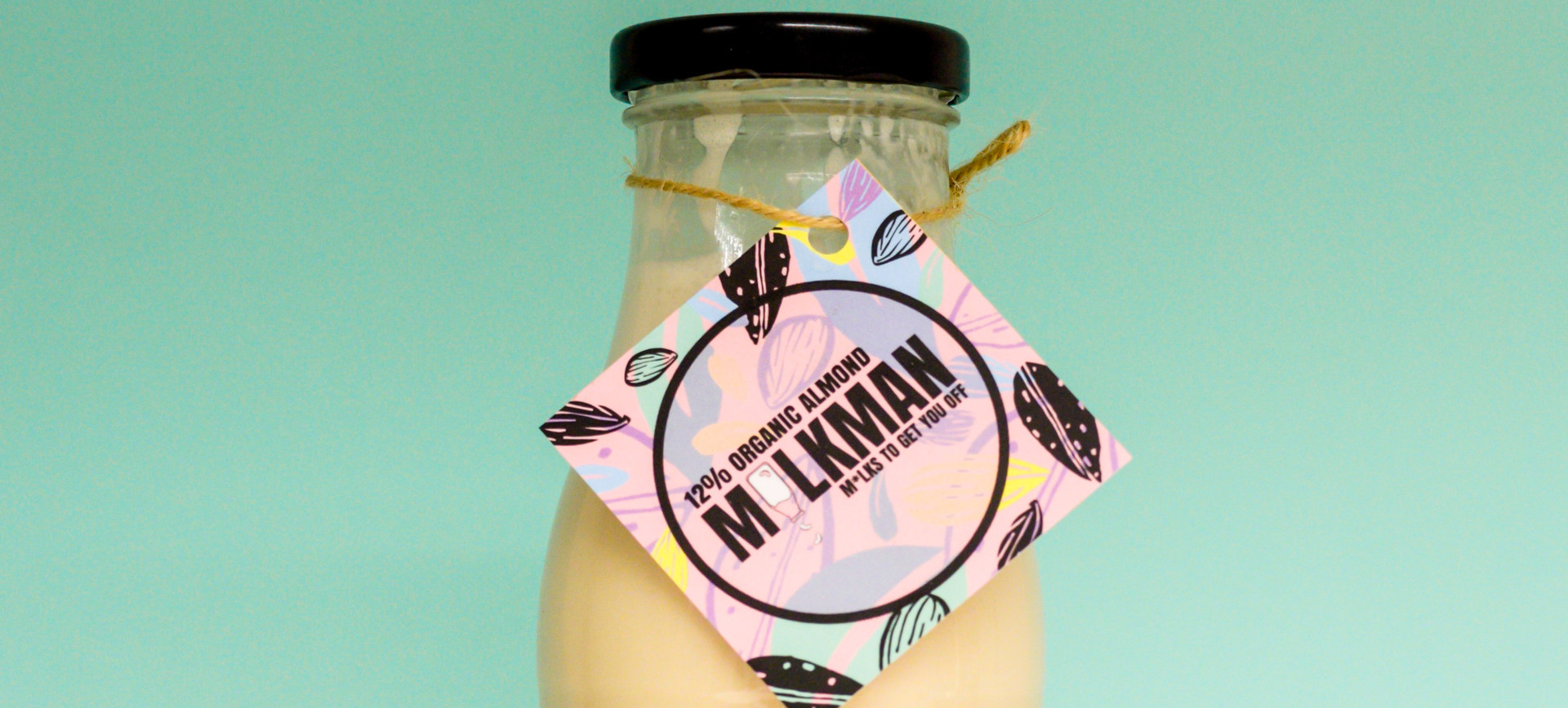 Illustrated labels for the M*lkman Uk, maker of hand-made nut milks
