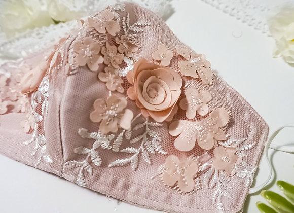 Pink Flower Detailed Face Mask