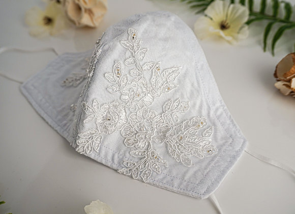 White Lace Flower Detailing with Beads Face Mask