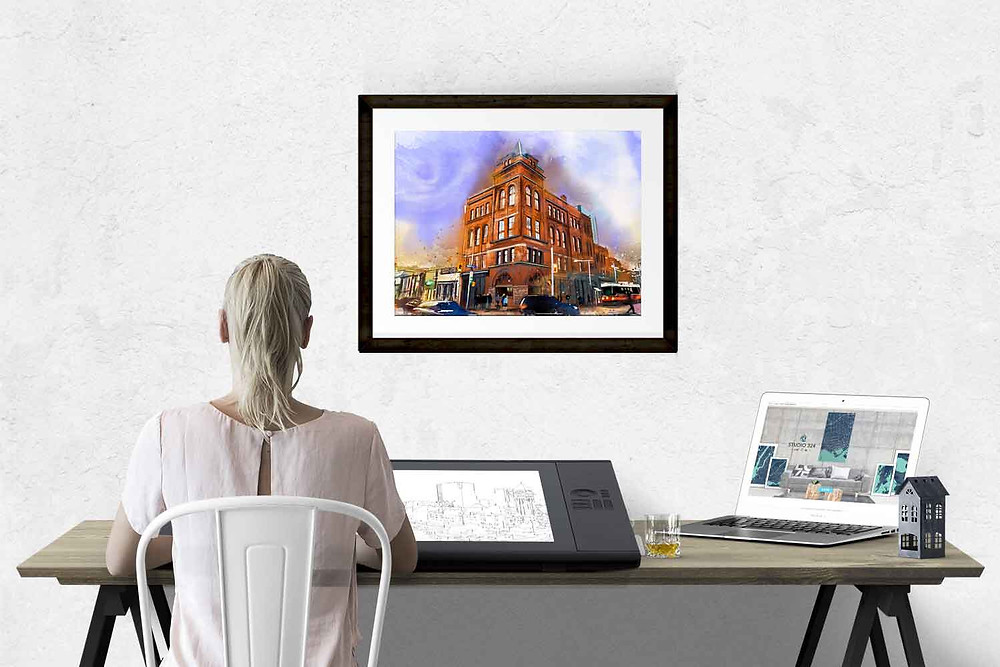 Watercolour illustration of Broadview Hotel