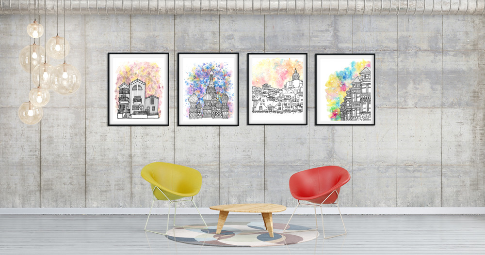Art prints of the world' most colourful cities in the world