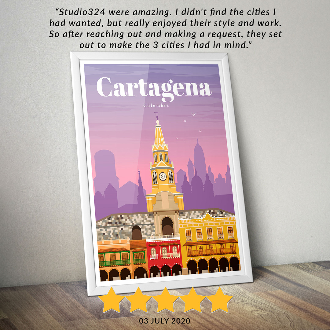 Cartagena travel poster