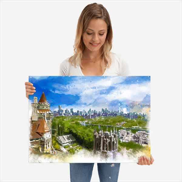 Watercolour illustration of the view from Casa Loma in Toronto
