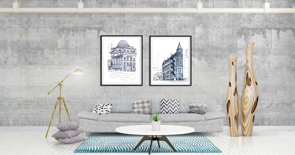 A set of hand drawn prints of Toronto landmarks