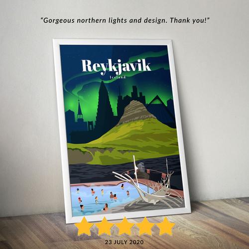 Reykjavik travel poster