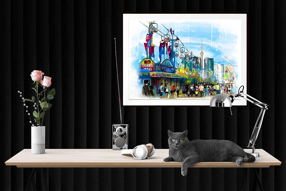 Watercolour illustration of the annual CNE Fair in Toronto