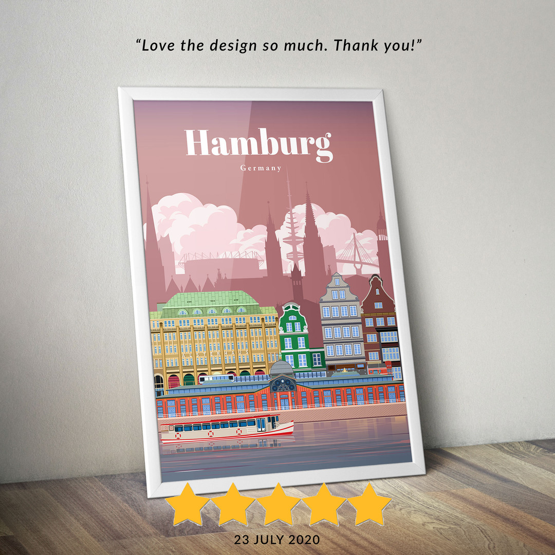 Hamburg travel poster