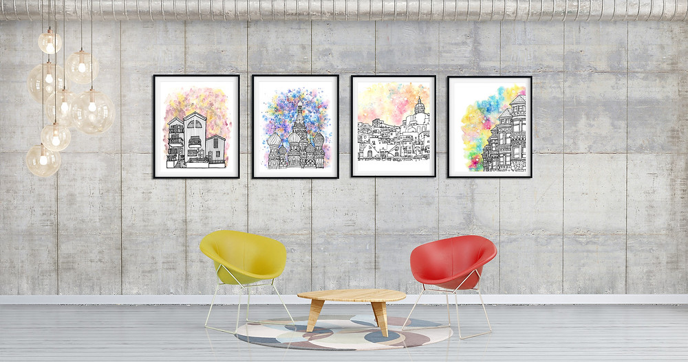 Set of Splash prints