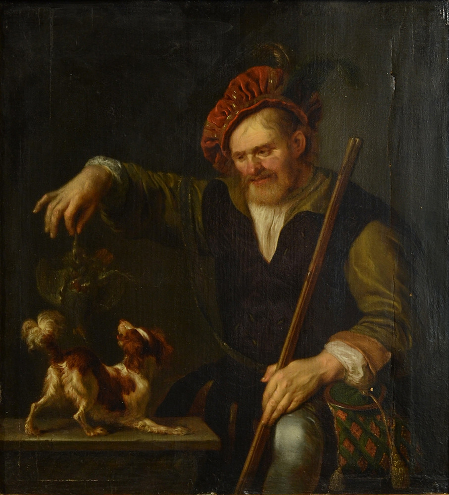 Ary de Vois (Utrecht 1631- Leyde 1680) Un chasseur tenant une perdrix Signé A de V Huile sur panneau parqueté 27 par 25,5 cm