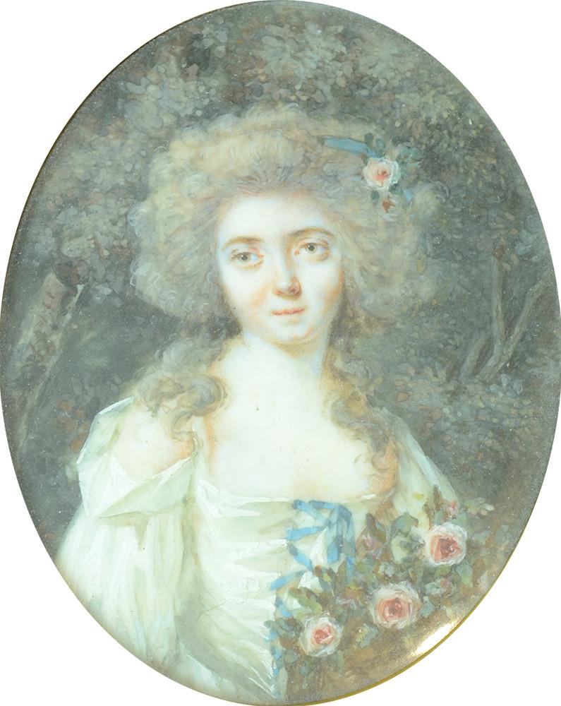 Louis-Lié Périn Salbreux (1753-1817)  Portrait de femme en robe blanche avec des roses, miniature sur ivoire, vers 1780 6,5 par 5 cm