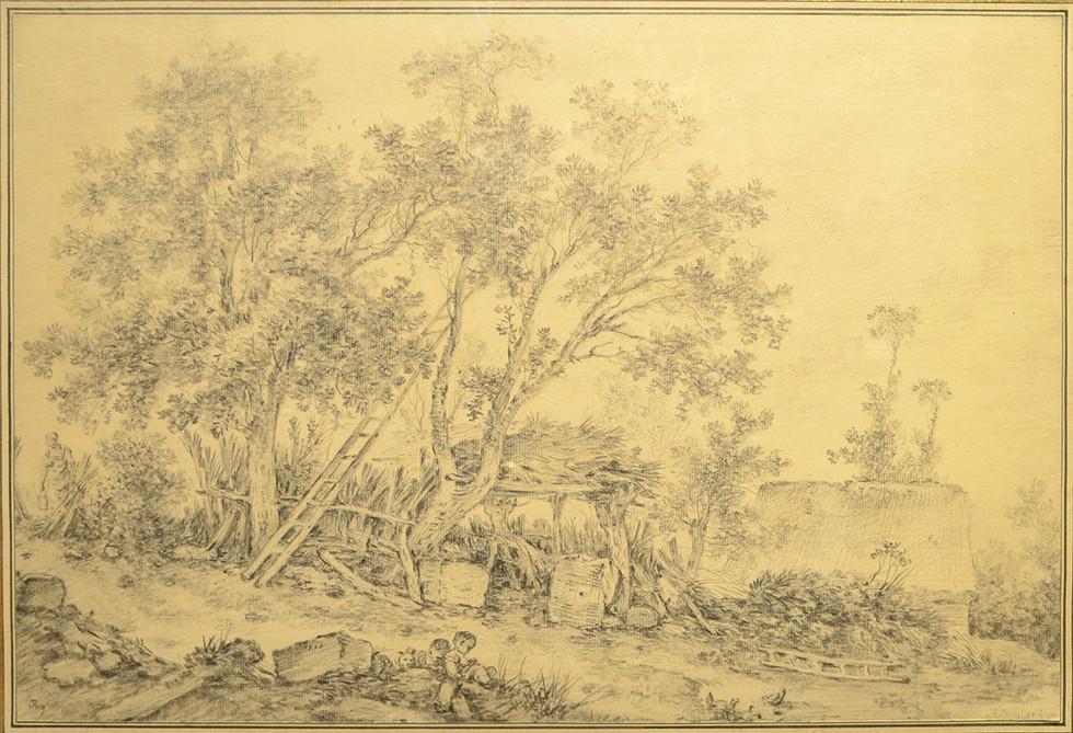 """François Boucher, """"Deuxième vue de Fronville"""", Pierre noire, Signé et daté 1761 H: 32 cm, L: 47 cm."""