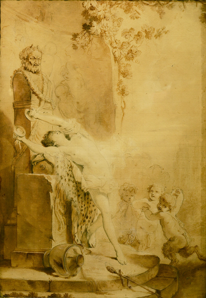 Jacques Philippe Caresme (Paris 1734-1796) Bacchante jouant des cymbales devant un terme de Priape et de jeunes faunes dansant et jouant de la flûte. Graphite, encre et lavis sur papier 42 par 29 cm Dessin mis au carreau