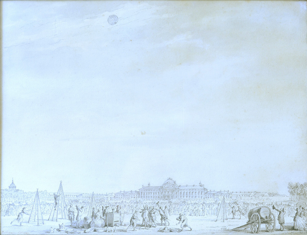 Moreau le jeune, vue du Champs de Mars, fiun du XVIIIème siècle, Plume et lavis sur papier