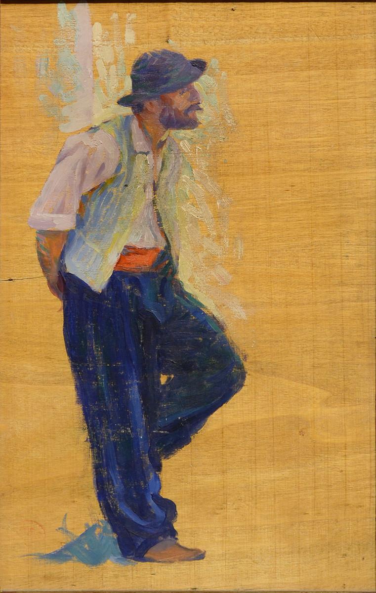 Henri-Edmond Cross (1856-1810) Etude d'homme Huile sur panneau Cachet de l'atelier