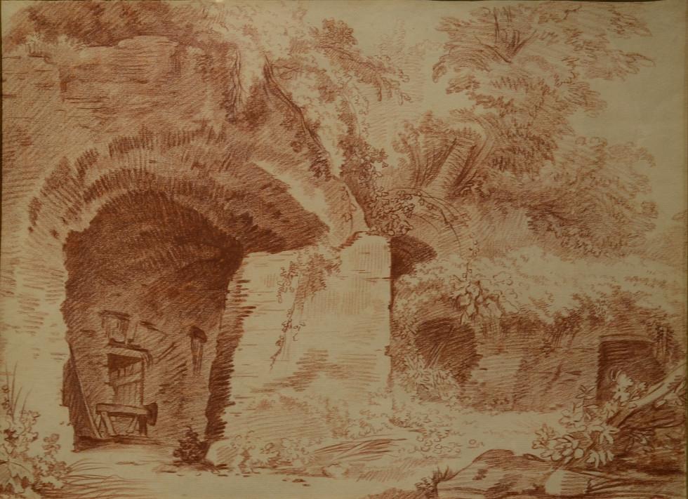 Hubert Robert, Paysage, sanguine, H: 37, L: 49 cm.