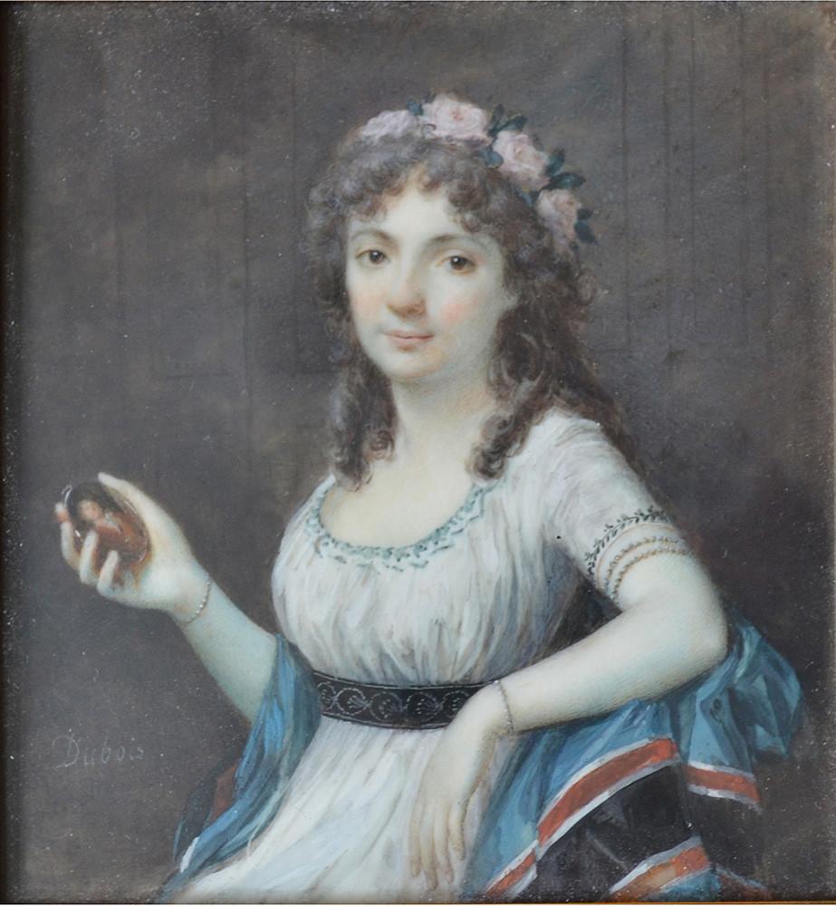 Frédéric Dubois, Portrait en miniature d'une jeune femme tenant le portrait d'un homme Signé Dubois, Vers 1790 H: 8 cm, L 8 cm