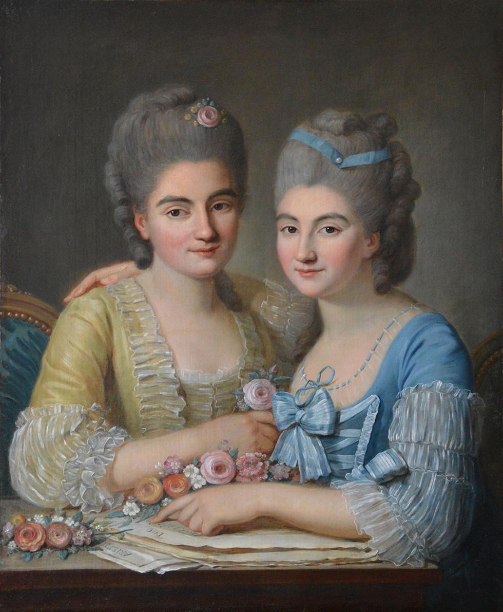 Ecole française du XVIIIème siècle, portrait de deux jeunes femmes. Huile sur toile, vers 1770 H: 79 cm, L: 63 cm.