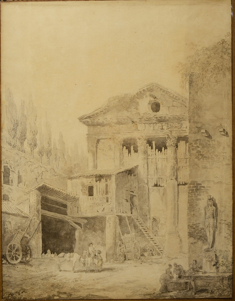 Hubert Robert (1733-1808) Vue de la Salpétrière près du Campo Vacino à Rome Sanguine sur papier Signé et daté H Robert d Roma 1761 47 par 36 cm