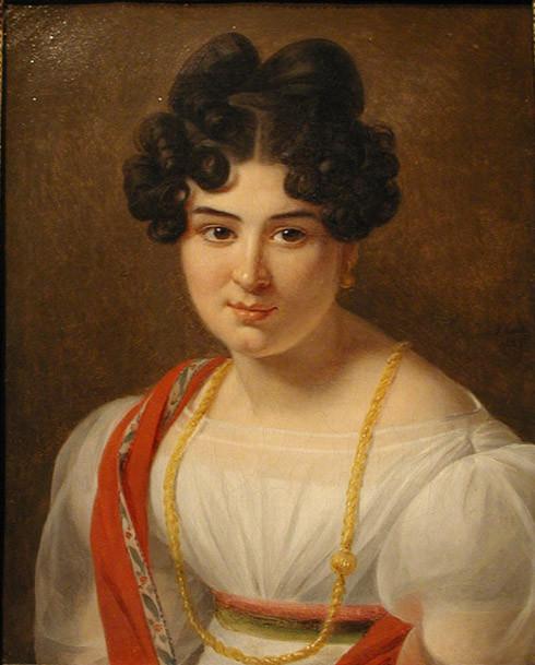 Julie Ribault (1789-?) Portrait de Madame Daubenton Signé et daté 1825 Huile sur toile 28 par 21 cm
