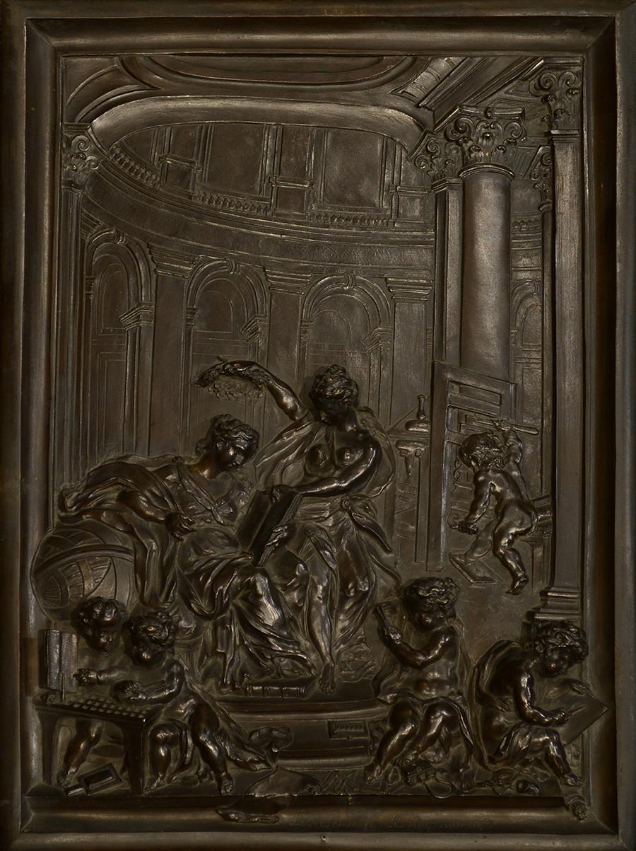Louis René Luce (1665?-1774) Bas relief en Bronze représentant une allégorie de l'imprimerie 1744