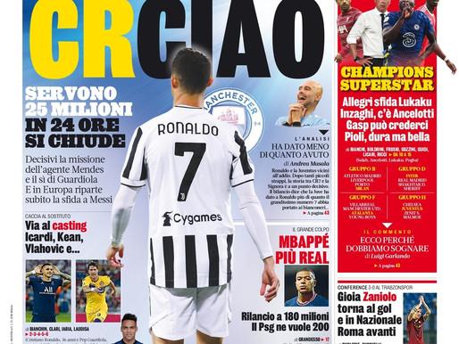 Cristiano Ronaldo decidiu deixar a Juventus e ir para o Manchester City, diz imprensa italiana