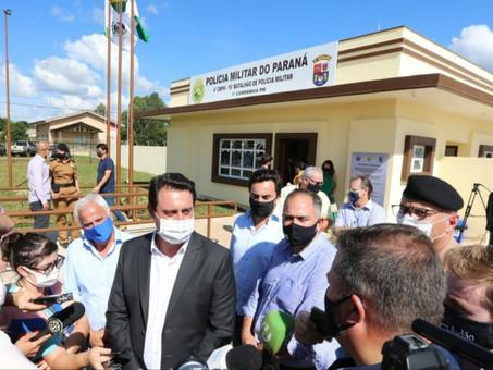 Governador inaugura sede do destacamento da PM de Entre Rios, em Guarapuava