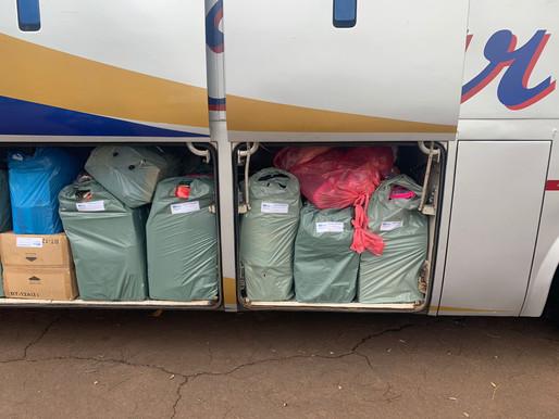 3 ônibus de turismo são retidos com mercadorias descaminhadas do Paraguai