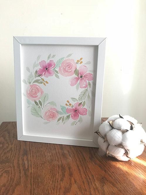 Watercolor Baby Girl Wreath