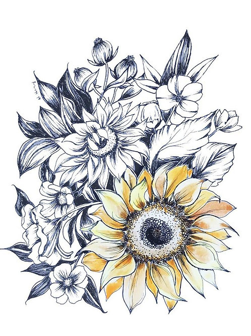 Sunflower Pen and Ink with Watercolor