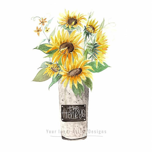 Sunflower Bouquet in Galvanized Vase - customized, personalized